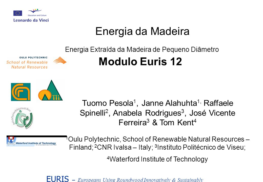 EURIS – Europeans Using Roundwood Innovatively & Sustainably Energia da Madeira Energia Extraída da Madeira de Pequeno Diâmetro Modulo Euris 12 Tuomo