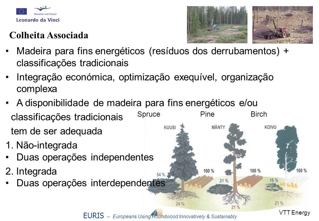 Madeira para fins energéticos (resíduos dos derrubamentos) + classificações tradicionais Integração económica, optimização exequível, organização comp