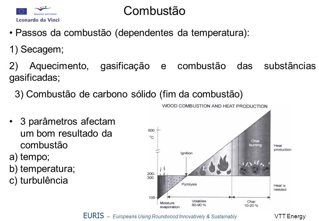 EURIS – Europeans Using Roundwood Innovatively & Sustainably Combustão Passos da combustão (dependentes da temperatura): 1) Secagem; 2) Aquecimento, g