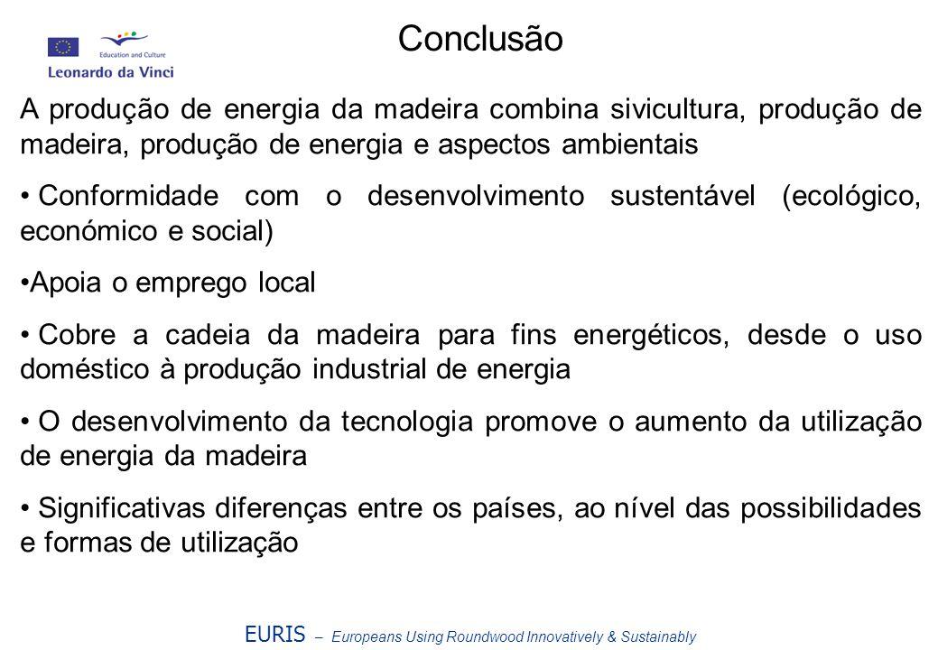 EURIS – Europeans Using Roundwood Innovatively & Sustainably Conclusão A produção de energia da madeira combina sivicultura, produção de madeira, prod