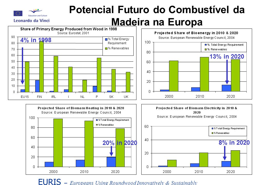 EURIS – Europeans Using Roundwood Innovatively & Sustainably Potencial Futuro do Combustível da Madeira na Europa Share of Primary Energy Produced from Wood in 1998 Source: Eurostat, 2001 0 10 20 30 40 50 60 70 80 90 EU15FINIRLINLPSKUK % Total Energy Requirement % Renewables 4% in 1998 8% in 2020 20% in 2020 13% in 2020