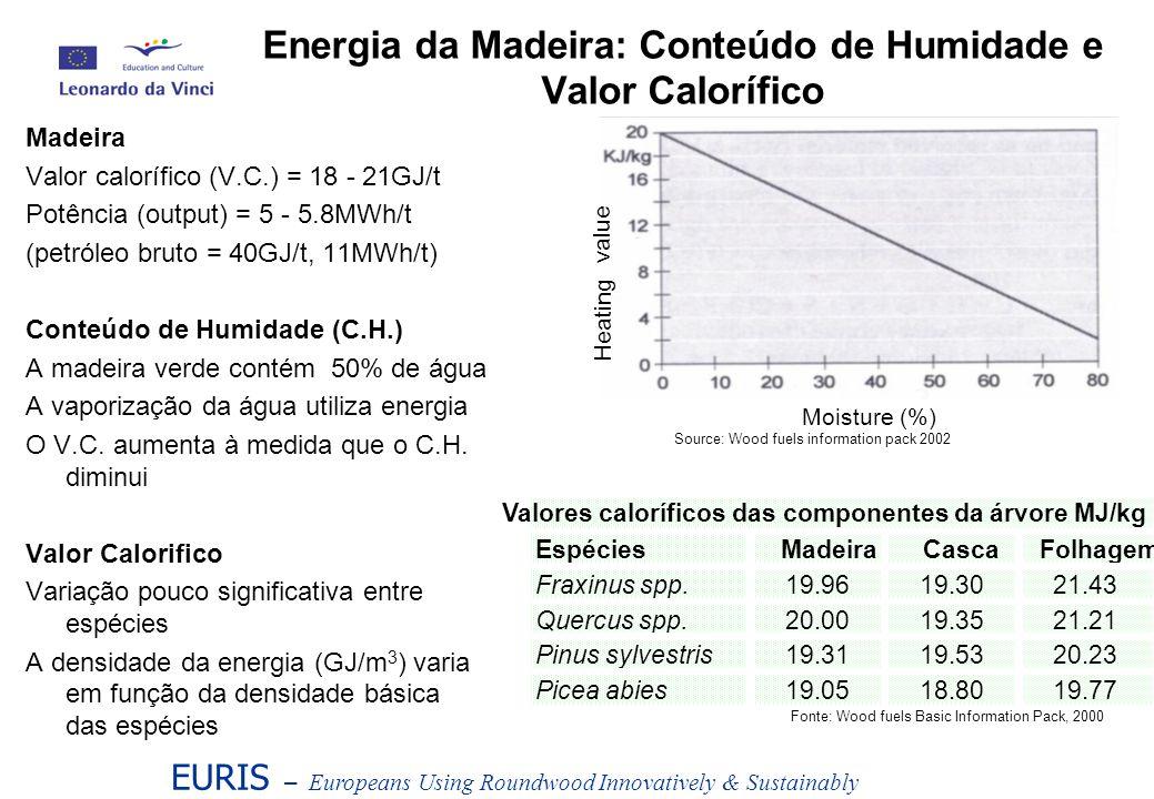 EURIS – Europeans Using Roundwood Innovatively & Sustainably Unidades de Medida para o conteúdo energético Valor calorífico da madeira = 18-21GJ/t (matéria seca ou odt - oven dry tonne) 1 odt = 1 / [densidade básica (kg/m 3 ) / 1000] m 3 volume sólido Quantificação do Combustível da Madeira Unidades de Medida para a produção de combustível da madeira, abastecimento, transporte e armazenamento Rolaria 1m 3 volume sólido = Lenha 1.49m 3 volume empilhado = Estilha 2.5m 3 volume da massa Fonte: Wood Fuel Basic Information Pack, 2000