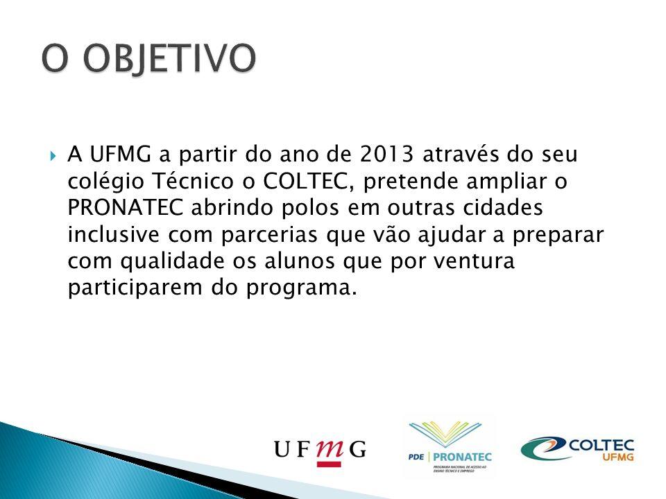 A UFMG a partir do ano de 2013 através do seu colégio Técnico o COLTEC, pretende ampliar o PRONATEC abrindo polos em outras cidades inclusive com parcerias que vão ajudar a preparar com qualidade os alunos que por ventura participarem do programa.