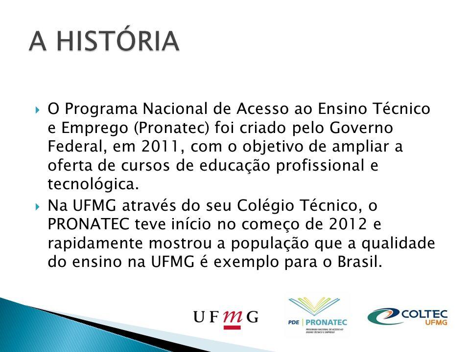 O Programa Nacional de Acesso ao Ensino Técnico e Emprego (Pronatec) foi criado pelo Governo Federal, em 2011, com o objetivo de ampliar a oferta de cursos de educação profissional e tecnológica.