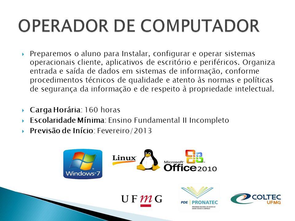 Nossos laboratórios possuem toda estrutura para realização dos cursos PRONATEC: Computadores de última geração com processadores intel.