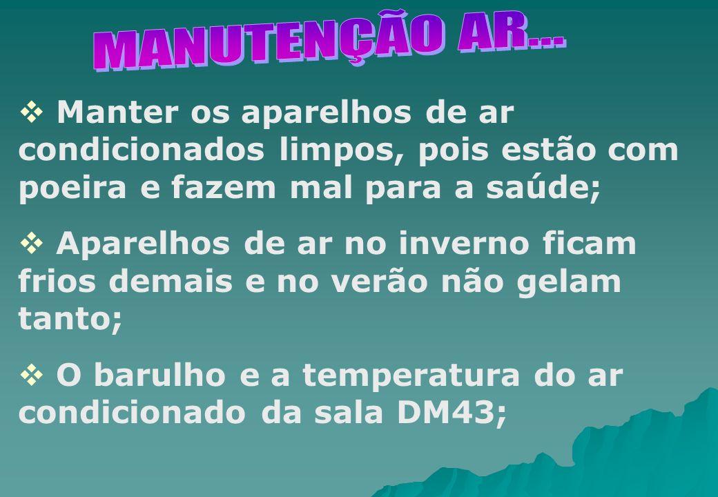Manter os aparelhos de ar condicionados limpos, pois estão com poeira e fazem mal para a saúde; Aparelhos de ar no inverno ficam frios demais e no ver