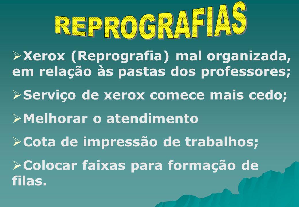 Xerox (Reprografia) mal organizada, em relação às pastas dos professores; Serviço de xerox comece mais cedo; Melhorar o atendimento Cota de impressão