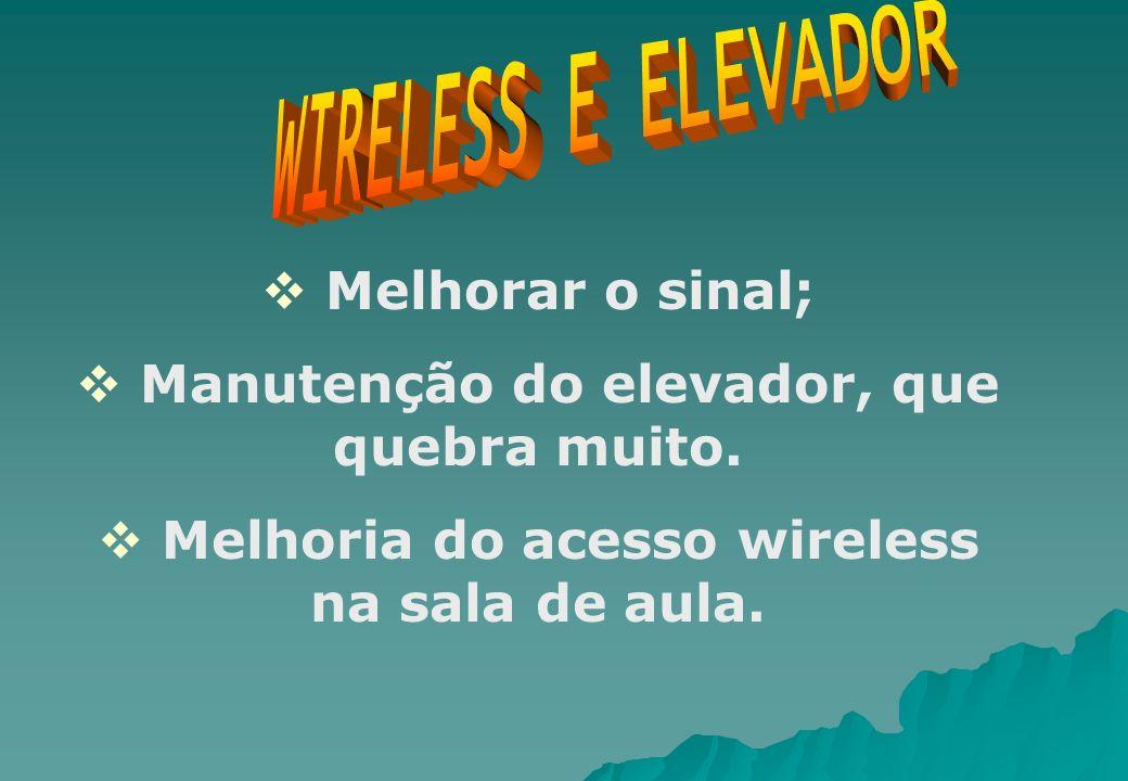 Melhorar o sinal; Manutenção do elevador, que quebra muito. Melhoria do acesso wireless na sala de aula.