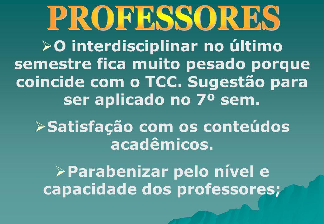 O interdisciplinar no último semestre fica muito pesado porque coincide com o TCC. Sugestão para ser aplicado no 7º sem. Satisfação com os conteúdos a