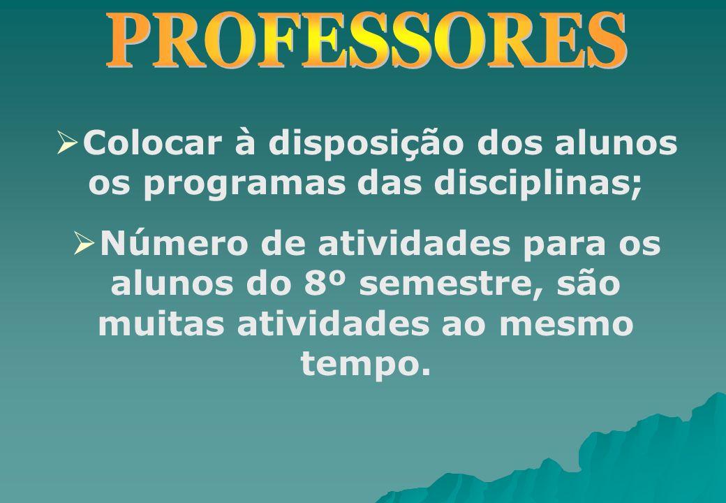 Colocar à disposição dos alunos os programas das disciplinas; Número de atividades para os alunos do 8º semestre, são muitas atividades ao mesmo tempo
