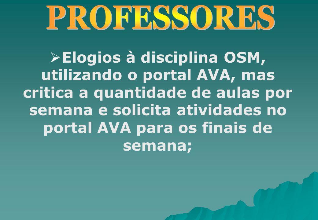 Elogios à disciplina OSM, utilizando o portal AVA, mas critica a quantidade de aulas por semana e solicita atividades no portal AVA para os finais de