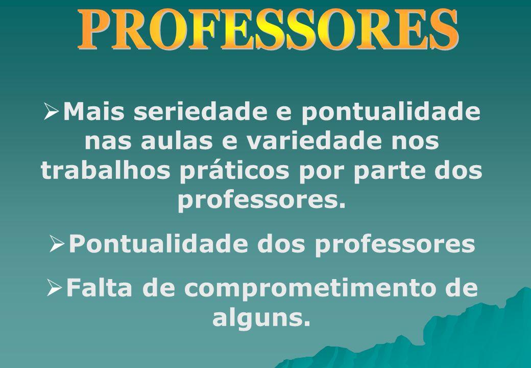 Mais seriedade e pontualidade nas aulas e variedade nos trabalhos práticos por parte dos professores. Pontualidade dos professores Falta de comprometi