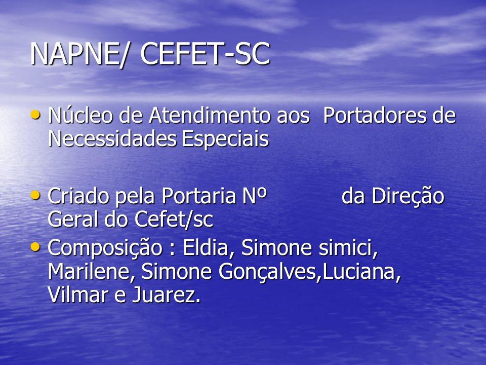 NAPNE/ CEFET-SC Núcleo de Atendimento aos Portadores de Necessidades Especiais Núcleo de Atendimento aos Portadores de Necessidades Especiais Criado p