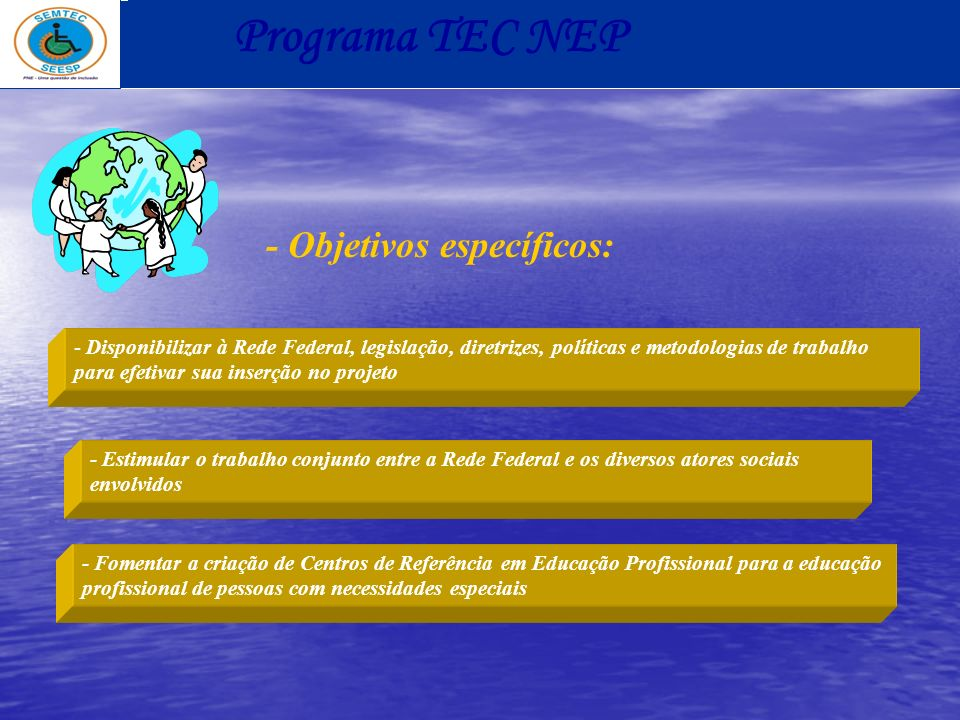 - Objetivos específicos: - Disponibilizar à Rede Federal, legislação, diretrizes, políticas e metodologias de trabalho para efetivar sua inserção no p