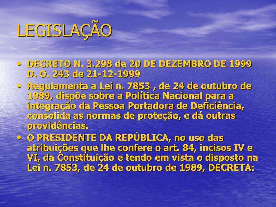 LEGISLAÇÃO DECRETO N. 3.298 de 20 DE DEZEMBRO DE 1999 D. O. 243 de 21-12-1999 DECRETO N. 3.298 de 20 DE DEZEMBRO DE 1999 D. O. 243 de 21-12-1999 Regul