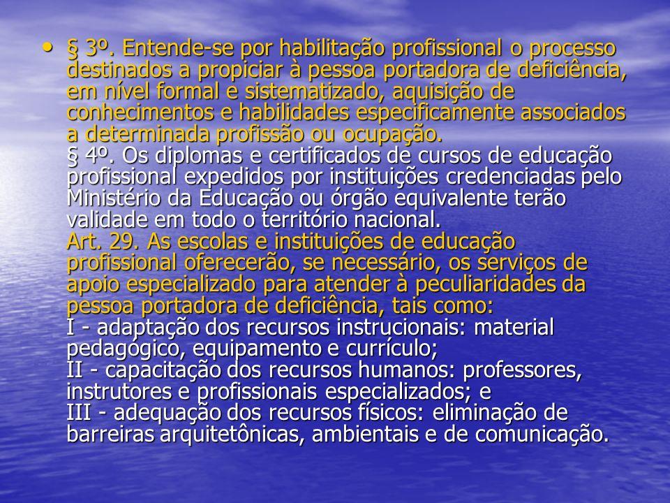 § 3º. Entende-se por habilitação profissional o processo destinados a propiciar à pessoa portadora de deficiência, em nível formal e sistematizado, aq