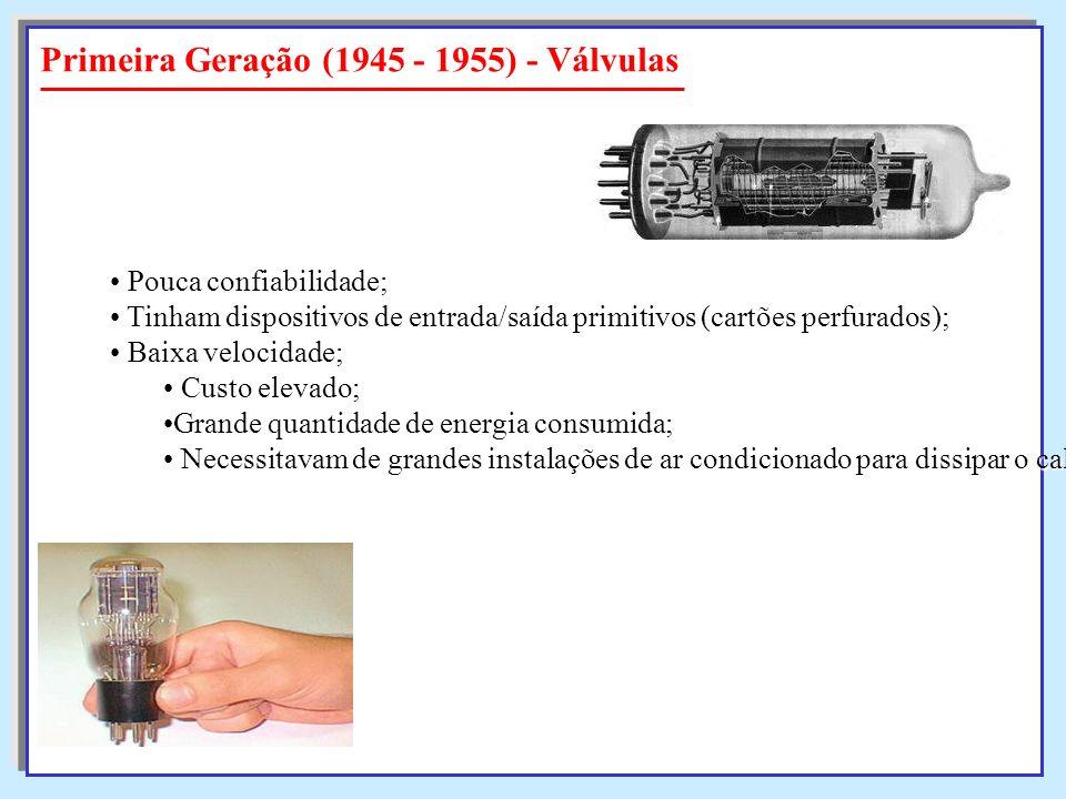 Primeira Geração (1945 - 1955) - Válvulas Pouca confiabilidade; Pouca confiabilidade; Tinham dispositivos de entrada/saída primitivos (cartões perfura