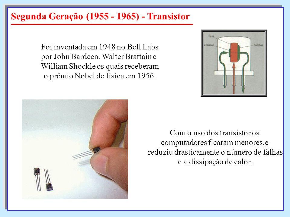 Segunda Geração (1955 - 1965) - Transistor Foi inventada em 1948 no Bell Labs por John Bardeen, Walter Brattain e William Shockle os quais receberam o