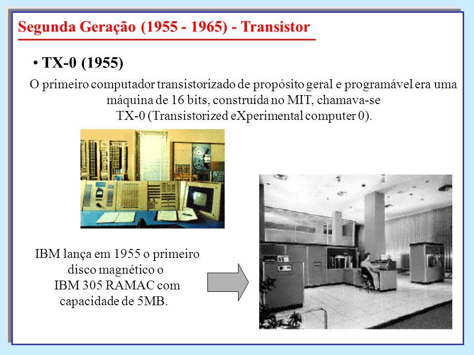 Segunda Geração (1955 - 1965) - Transistor O primeiro computador transistorizado de propósito geral e programável era uma máquina de 16 bits, construí