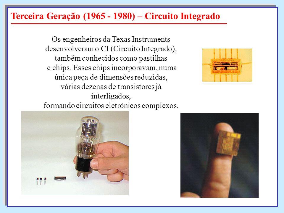 Terceira Geração (1965 - 1980) – Circuito Integrado Os engenheiros da Texas Instruments desenvolveram o CI (Circuito Integrado), também conhecidos com