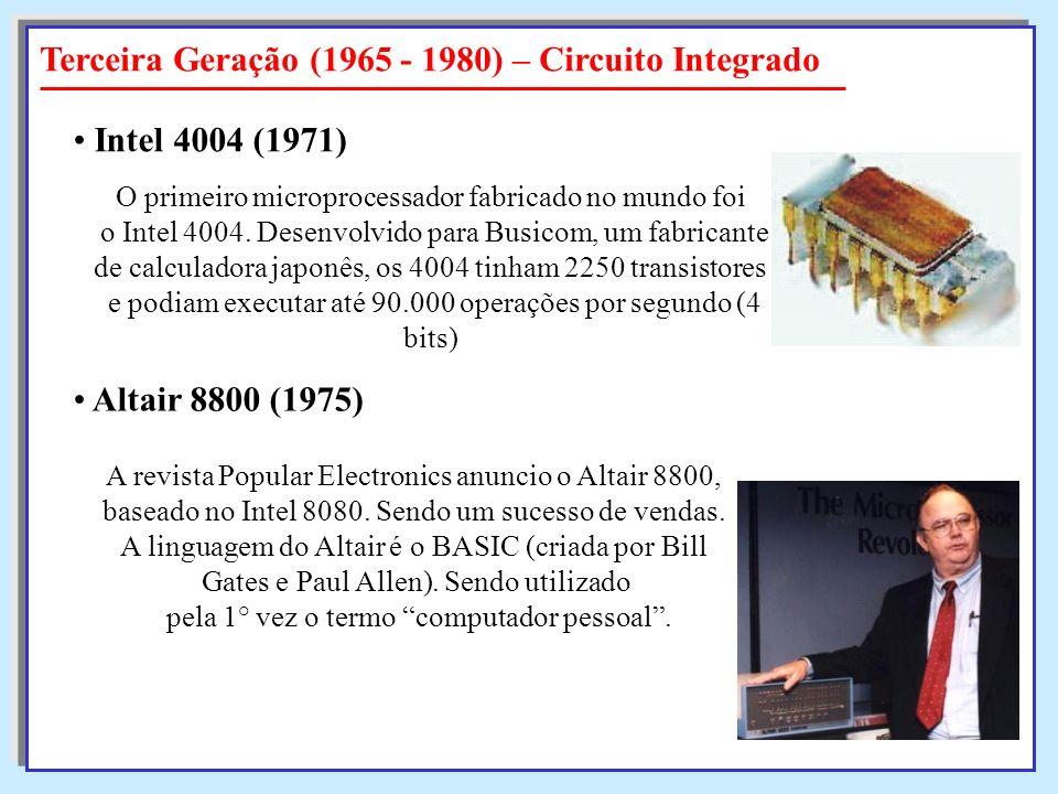 O primeiro microprocessador fabricado no mundo foi o Intel 4004. Desenvolvido para Busicom, um fabricante o Intel 4004. Desenvolvido para Busicom, um