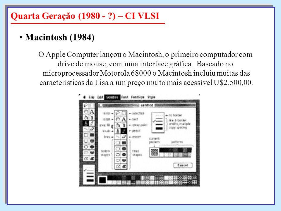 O Apple Computer lançou o Macintosh, o primeiro computador com drive de mouse, com uma interface gráfica. Baseado no microprocessador Motorola 68000 o