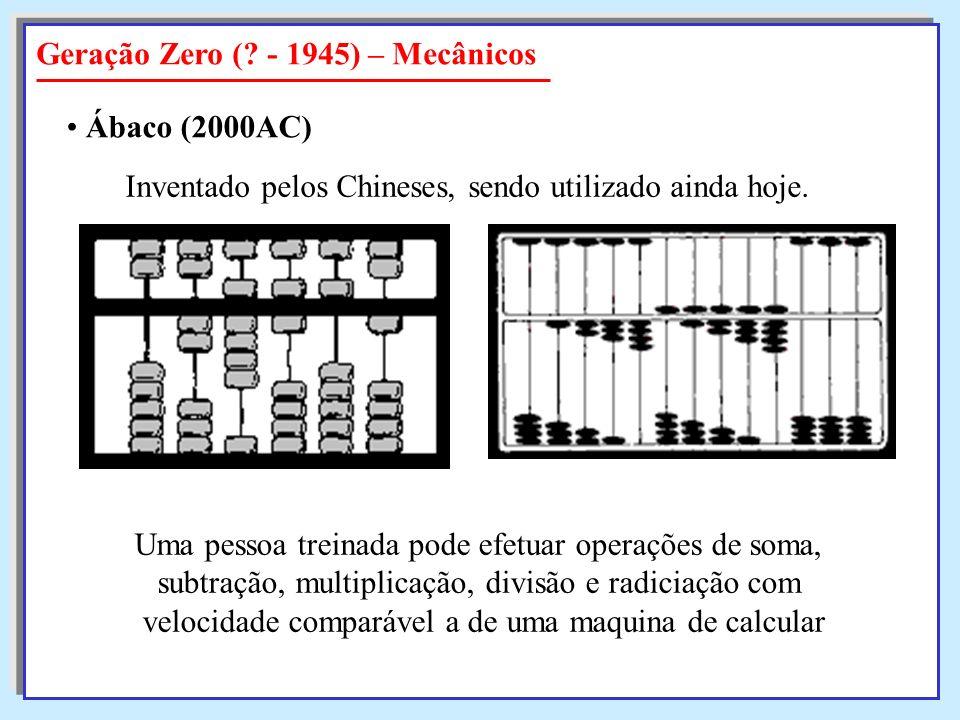 Geração Zero (? - 1945) – Mecânicos Ábaco (2000AC) Inventado pelos Chineses, sendo utilizado ainda hoje. Uma pessoa treinada pode efetuar operações de