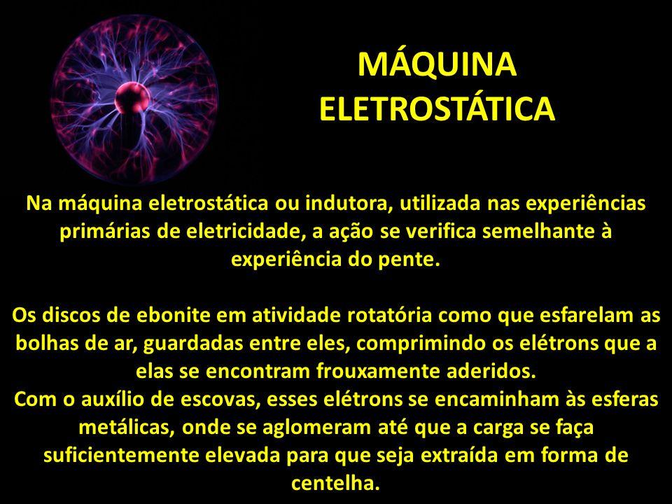 MÁQUINA ELETROSTÁTICA Na máquina eletrostática ou indutora, utilizada nas experiências primárias de eletricidade, a ação se verifica semelhante à experiência do pente.