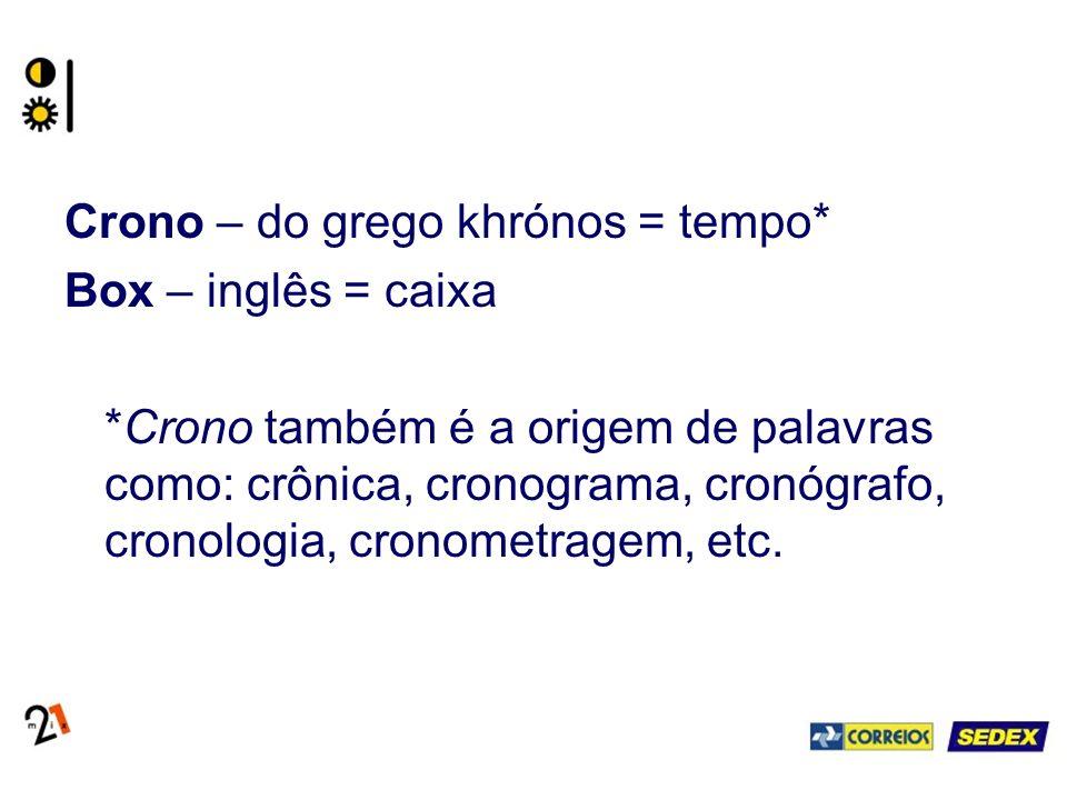 Crono – do grego khrónos = tempo* Box – inglês = caixa *Crono também é a origem de palavras como: crônica, cronograma, cronógrafo, cronologia, cronometragem, etc.