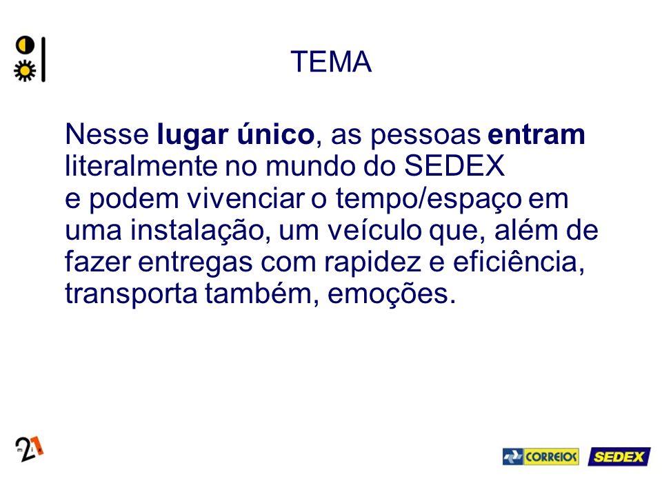 TEMA Nesse lugar único, as pessoas entram literalmente no mundo do SEDEX e podem vivenciar o tempo/espaço em uma instalação, um veículo que, além de fazer entregas com rapidez e eficiência, transporta também, emoções.