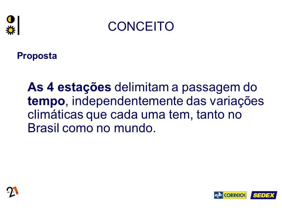 CONCEITO Proposta As 4 estações delimitam a passagem do tempo, independentemente das variações climáticas que cada uma tem, tanto no Brasil como no mundo.