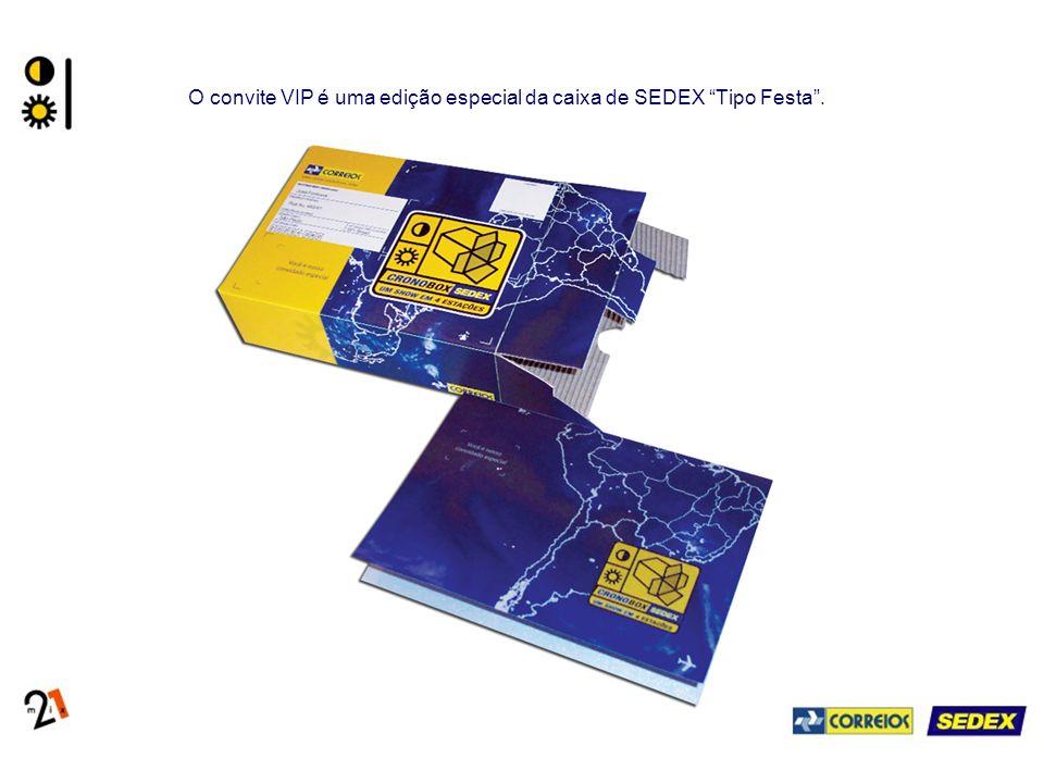 O convite VIP é uma edição especial da caixa de SEDEX Tipo Festa.