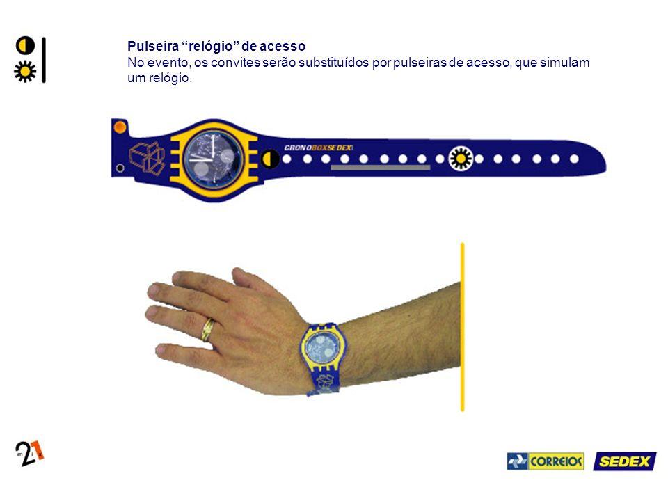 Pulseira relógio de acesso No evento, os convites serão substituídos por pulseiras de acesso, que simulam um relógio.