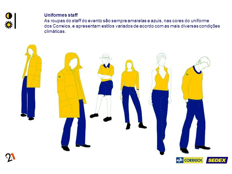 Uniformes staff As roupas do staff do evento são sempre amarelas e azuis, nas cores do uniforme dos Correios, e apresentam estilos variados de acordo com as mais diversas condições climáticas.