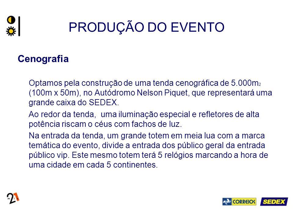 PRODUÇÃO DO EVENTO Cenografia Optamos pela construção de uma tenda cenográfica de 5.000m 2 (100m x 50m), no Autódromo Nelson Piquet, que representará uma grande caixa do SEDEX.