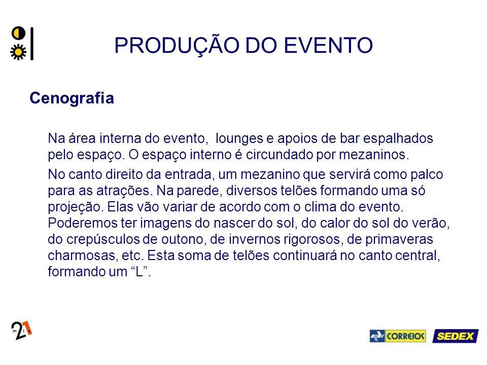 PRODUÇÃO DO EVENTO Cenografia Na área interna do evento, lounges e apoios de bar espalhados pelo espaço.