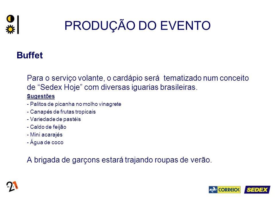 PRODUÇÃO DO EVENTO Buffet Para o serviço volante, o cardápio será tematizado num conceito de Sedex Hoje com diversas iguarias brasileiras. Sugestões -