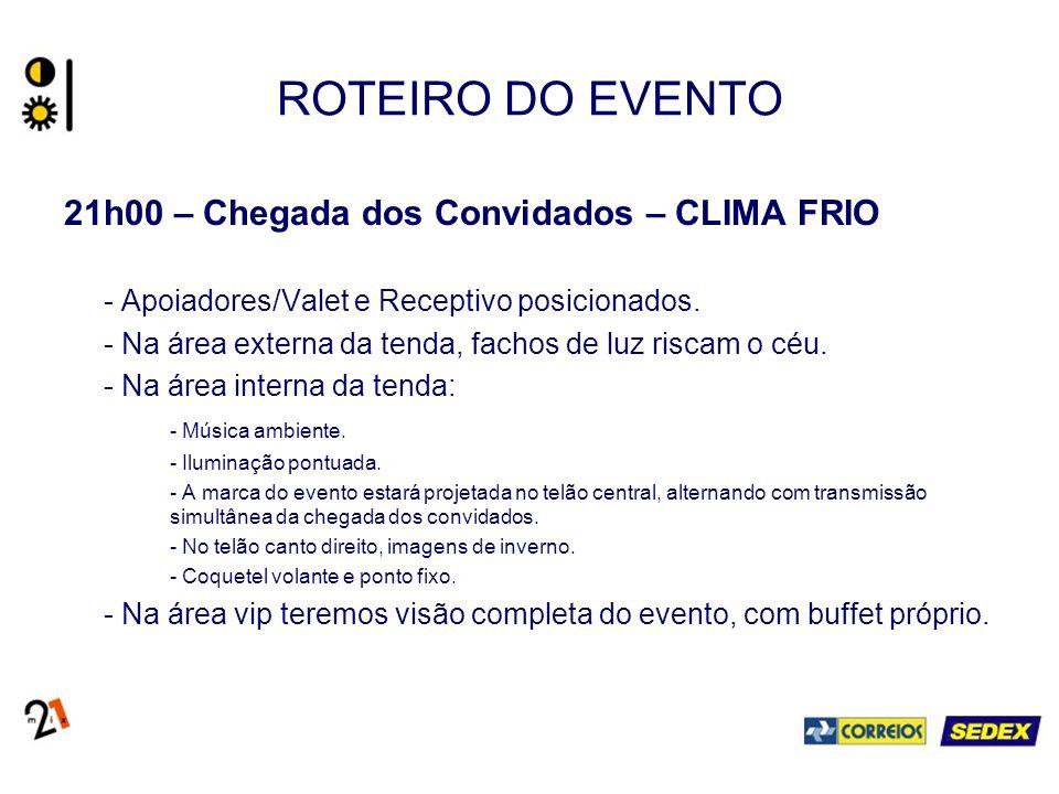 ROTEIRO DO EVENTO 21h00 – Chegada dos Convidados – CLIMA FRIO - Apoiadores/Valet e Receptivo posicionados. - Na área externa da tenda, fachos de luz r