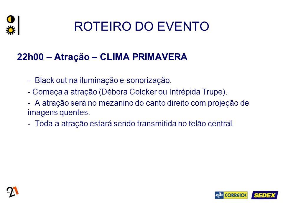 ROTEIRO DO EVENTO 22h00 – Atração – CLIMA PRIMAVERA - Black out na iluminação e sonorização.
