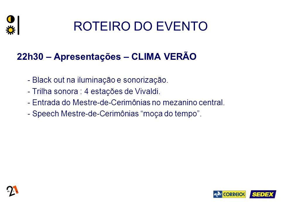 ROTEIRO DO EVENTO 22h30 – Apresentações – CLIMA VERÃO - Black out na iluminação e sonorização.
