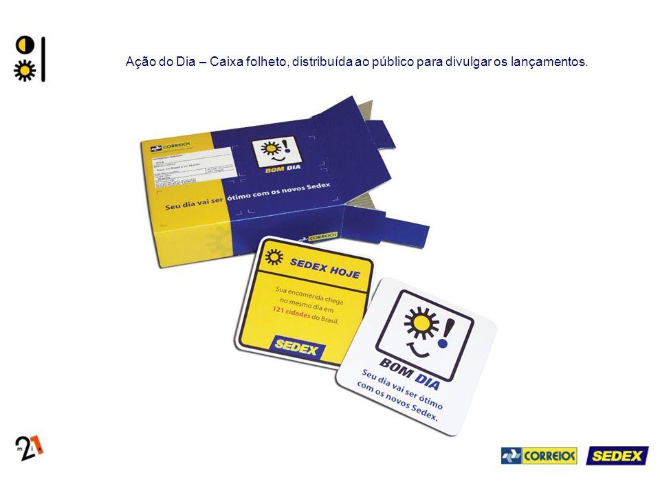 Ação do Dia – Caixa folheto, distribuída ao público para divulgar os lançamentos.