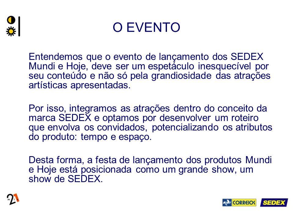 O EVENTO Entendemos que o evento de lançamento dos SEDEX Mundi e Hoje, deve ser um espetáculo inesquecível por seu conteúdo e não só pela grandiosidad