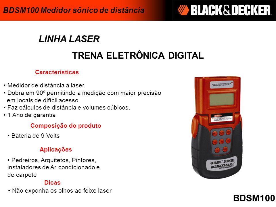 TRENA ELETRÔNICA DIGITAL LINHA LASER Medidor de distância a laser. Dobra em 90º permitindo a medição com maior precisão em locais de difícil acesso. F