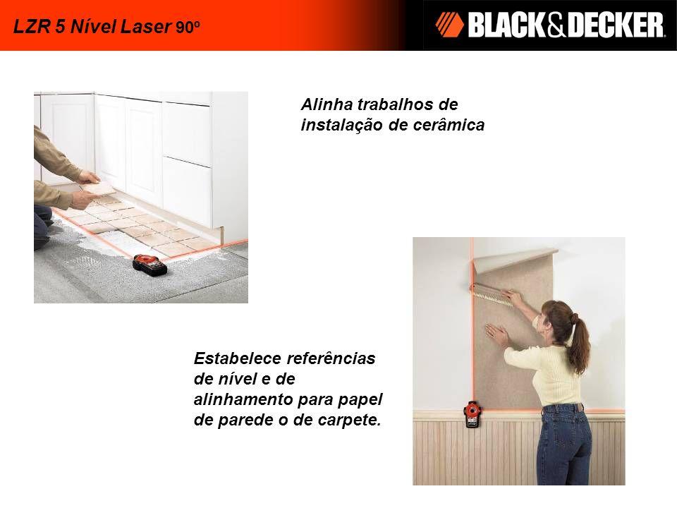 Alinha trabalhos de instalação de cerâmica Estabelece referências de nível e de alinhamento para papel de parede o de carpete. LZR 5 Nível Laser 90º