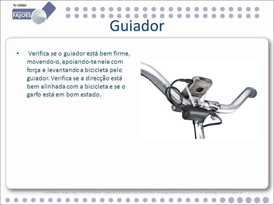 Guiador Verifica se o guiador está bem firme, movendo-o, apoiando-te nele com força e levantando a bicicleta pelo guiador.