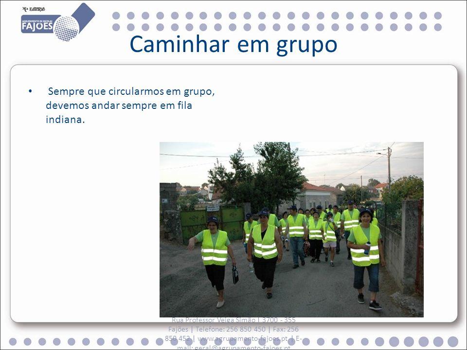 Caminhar em grupo Sempre que circularmos em grupo, devemos andar sempre em fila indiana. Rua Professor Veiga Simão | 3700 - 355 Fajões | Telefone: 256