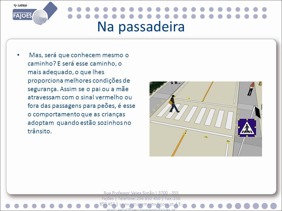 Na passadeira Mas, será que conhecem mesmo o caminho? E será esse caminho, o mais adequado, o que lhes proporciona melhores condições de segurança. As