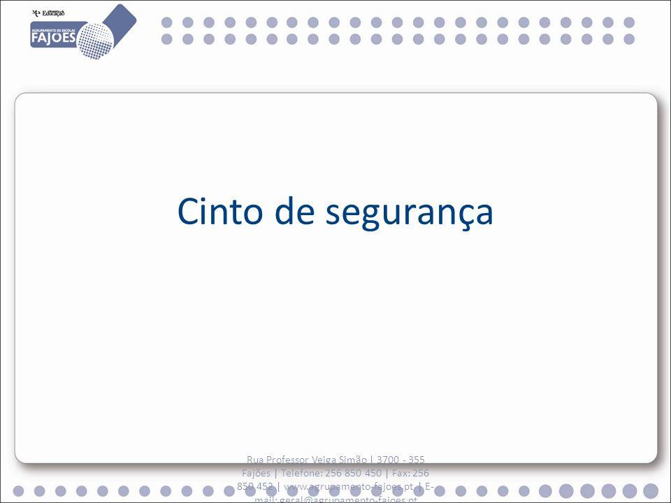 Cinto de segurança Rua Professor Veiga Simão | 3700 - 355 Fajões | Telefone: 256 850 450 | Fax: 256 850 452 | www.agrupamento-fajoes.pt | E- mail: geral@agrupamento-fajoes.pt