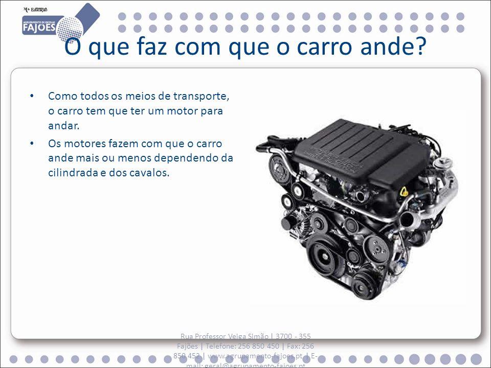 O que faz com que o carro ande? Como todos os meios de transporte, o carro tem que ter um motor para andar. Os motores fazem com que o carro ande mais