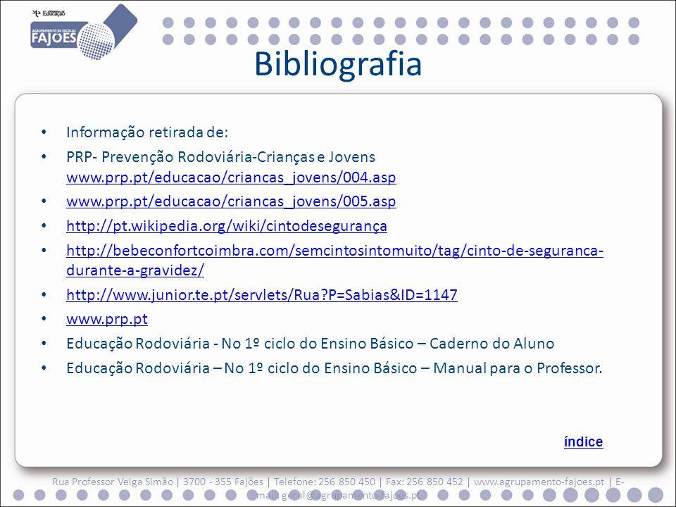 Bibliografia Informação retirada de: PRP- Prevenção Rodoviária-Crianças e Jovens www.prp.pt/educacao/criancas_jovens/004.asp www.prp.pt/educacao/crian